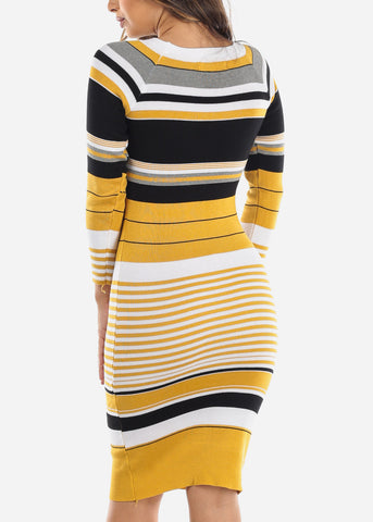Yellow Stripe Sweater Dress