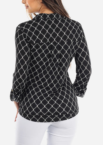Image of Black Quatrefoil Blouse