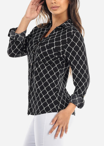 Black Quatrefoil Blouse