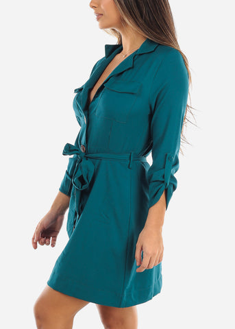 Teal Button Down Shirt Dress