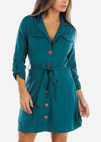 Image of Teal Button Down Shirt Dress