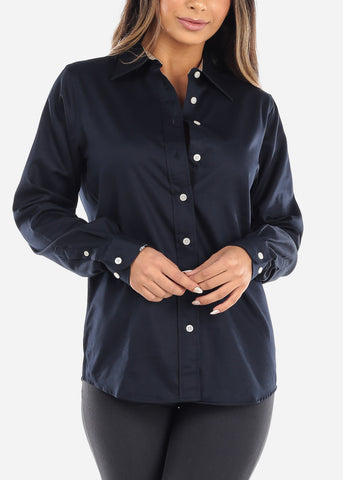 Navy Teflon Button Down Shirt