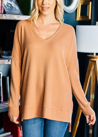 Egg Shell V-Neck Thermal Waffle Sweater