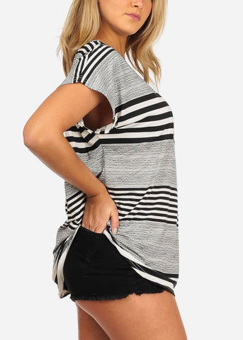 Women's Junior Casual Going Out Black And White Stripe Printed Tunic Blouse Top