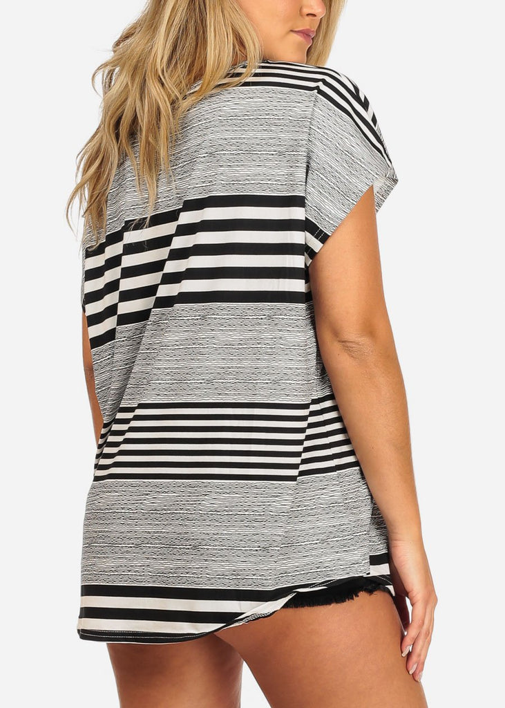 Black & White Stripe Short Sleeve Tunic