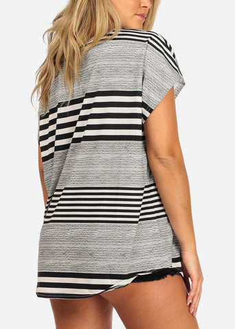 Image of Black & White Stripe Short Sleeve Tunic
