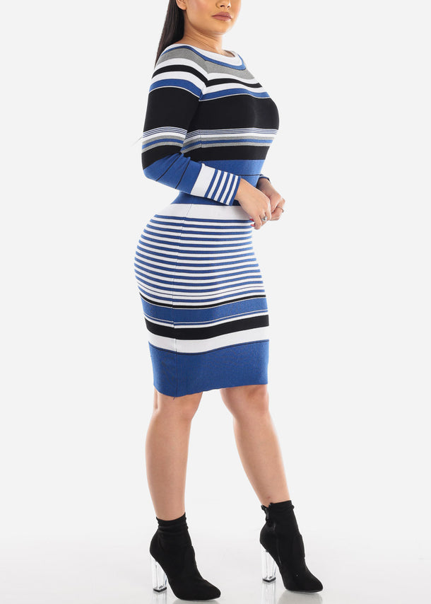 Blue Stripe Round Neck Sweater Dress