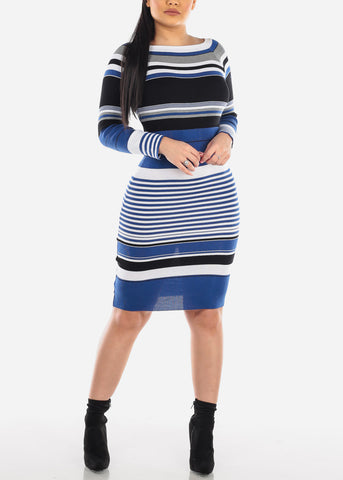 Blue Stripe Sweater Dress