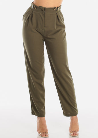 Image of High Rise Straight Leg Olive Dress Pants