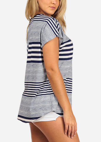 Women's Junior Casual Going Out Navy And White Stripe Printed Tunic Blouse Top