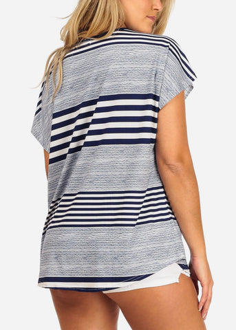 Image of Navy & White Stripe Tunic Top