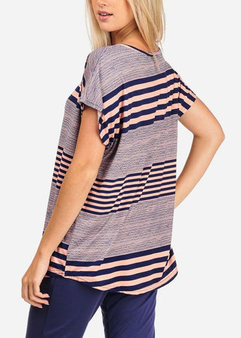 Image of Women's Junior Casual Going Out Pink And Navy Stripe Printed Tunic Blouse Top