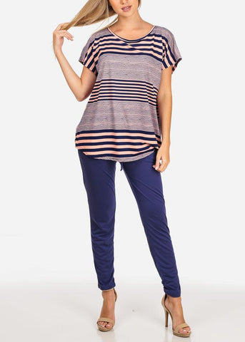 Image of Navy Striped Tunic Top