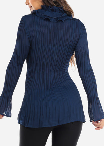 Image of Ruffled Navy Pleated Blouse