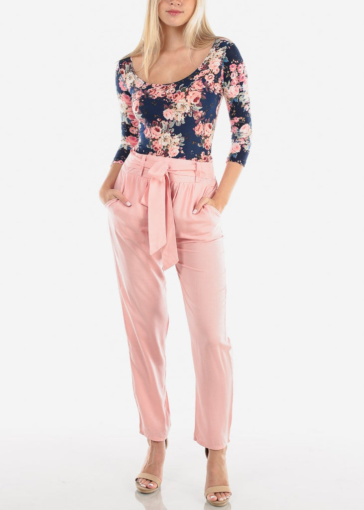 Women's Junior Ladies Casual Cute Going Out Vacation Lightweight High Waisted Straight Leg Light Pink Pants With Front Knot Tie Belt