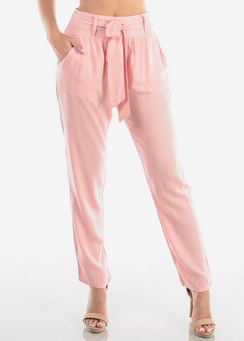 Image of Women's Junior Ladies Casual Cute Going Out Vacation Lightweight High Waisted Straight Leg Light Pink Pants With Front Knot Tie Belt