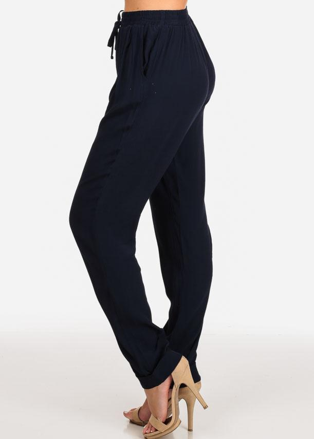 Casual Drawstring Waist Navy Pants