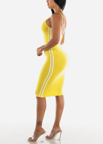 Yellow Bodycon Midi Dress