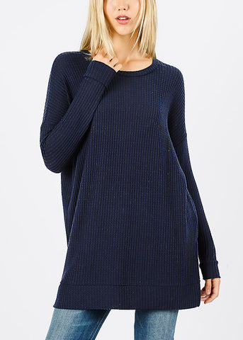 Navy Bushed thermal Waffle Sweater