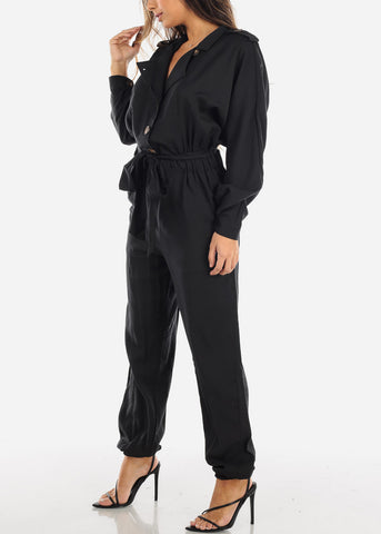 Black Button Down Jogger Jumpsuit