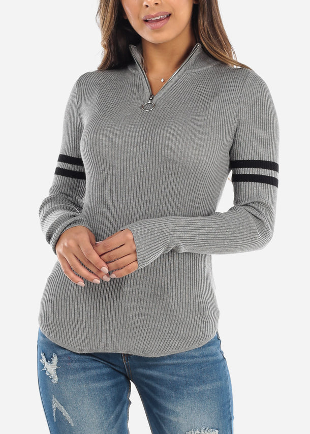 Grey Half Zip High Collar Sweater