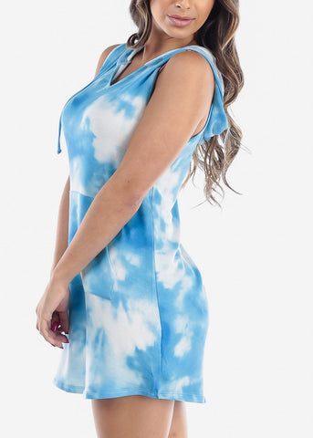 Cute Sleeveless Tie Dye Blue Dress For Women Ladies Junior At Discount Sale Price
