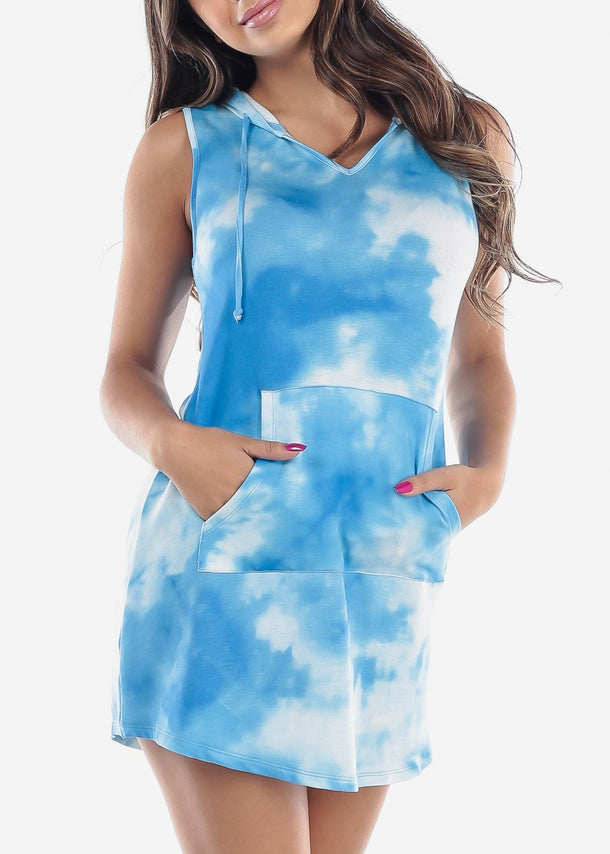 Blue Tie Dye Sleeveless Hoodie Dress