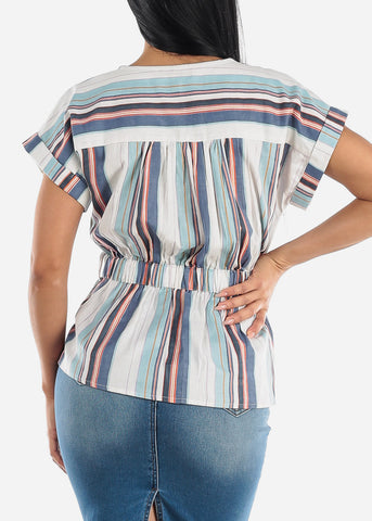 Image of Blue Stripe Button Up Top