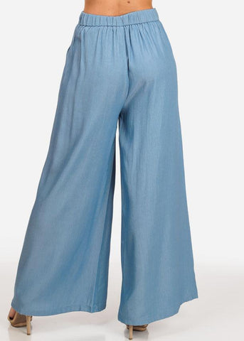 Image of High Rise Light Blue Flared Palazzo Pants