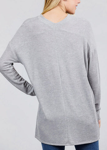 Image of Grey Button Down Knit Cardigan