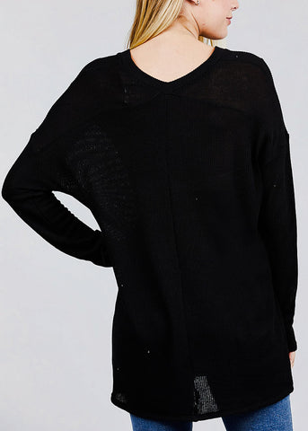 Black Button Down Knit Cardigan