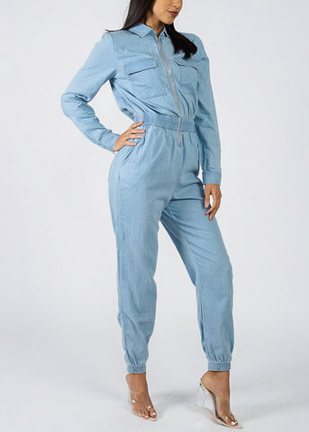 Image of Zip Up Light Wash Denim Jumpsuit