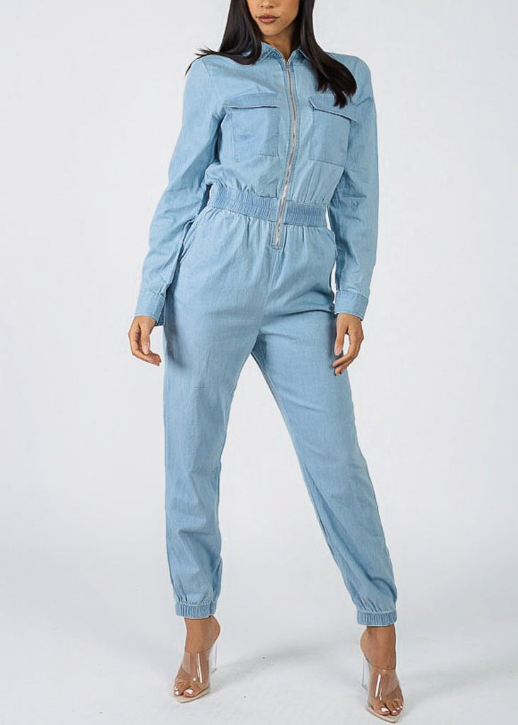 Zip Up Light Wash Denim Jumpsuit
