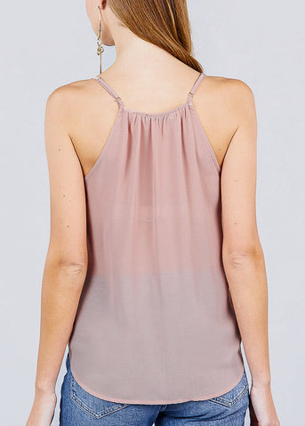 Light Pink Surplice Cami Woven Top