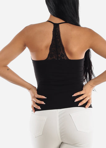 Casual Black Spaghetti Strap Top