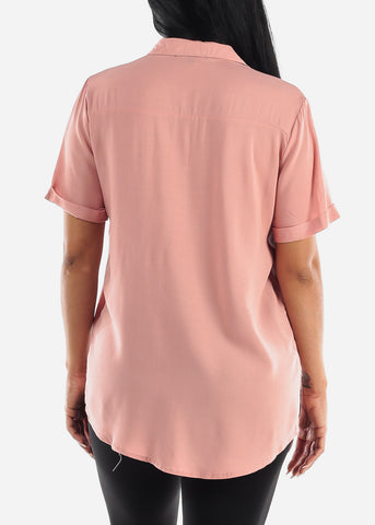 Image of Mauve Button Up Short Sleeve Shirt