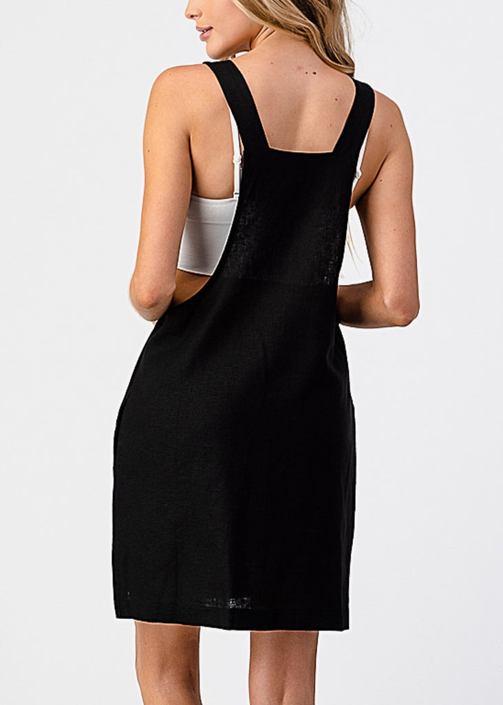 Sleeveless Black Overall Dress