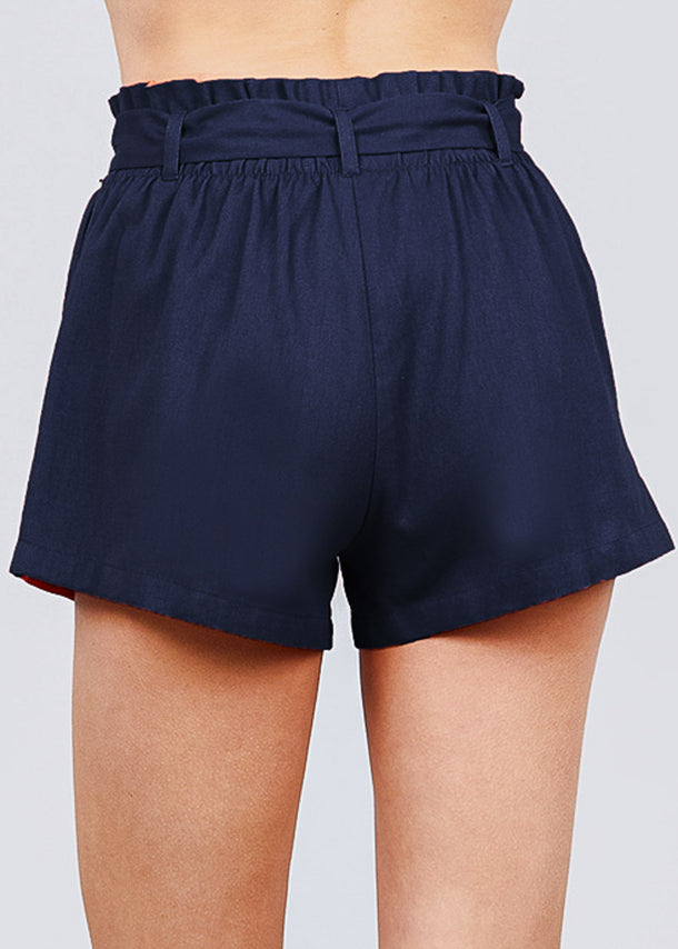 Navy Paperbag Linen Shorts