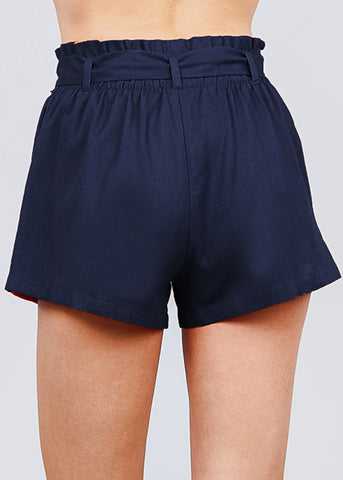 Image of Navy Paperbag Linen Shorts