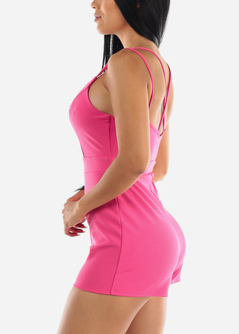 Image of Crisscross Back Hot Pink Romper