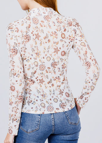 Image of White Floral Mesh Knit Shirt