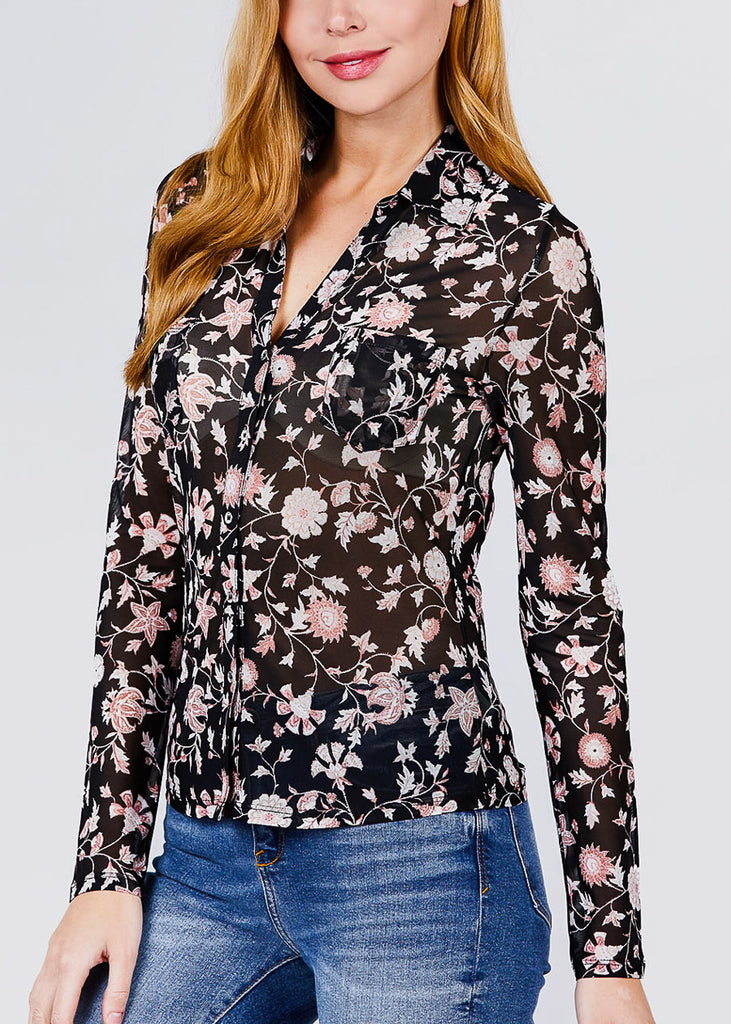 Black Floral Mesh Knit Shirt