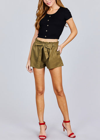 Image of Olive Paperbag Linen Shorts