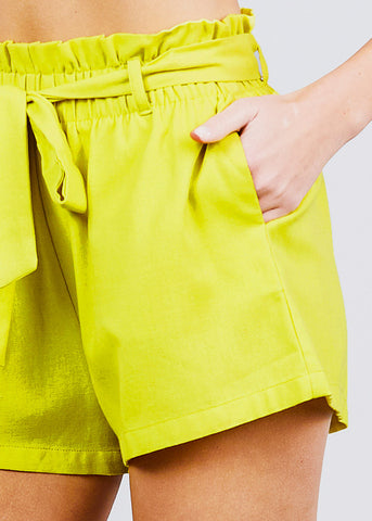 Image of Neon Green Paperbag Linen Shorts