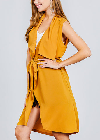 Sleeveless Mustard Maxi Cardigan
