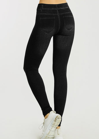 Image of One Size Faux Denim Black Leggings