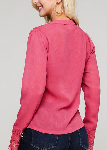 Image of Tie Neckline Dusty Pink Lightweight Top