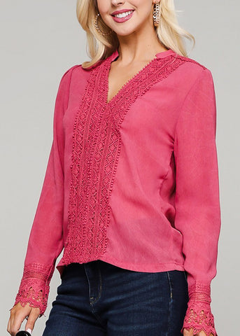 Tie Neckline Dusty Pink Lightweight Top