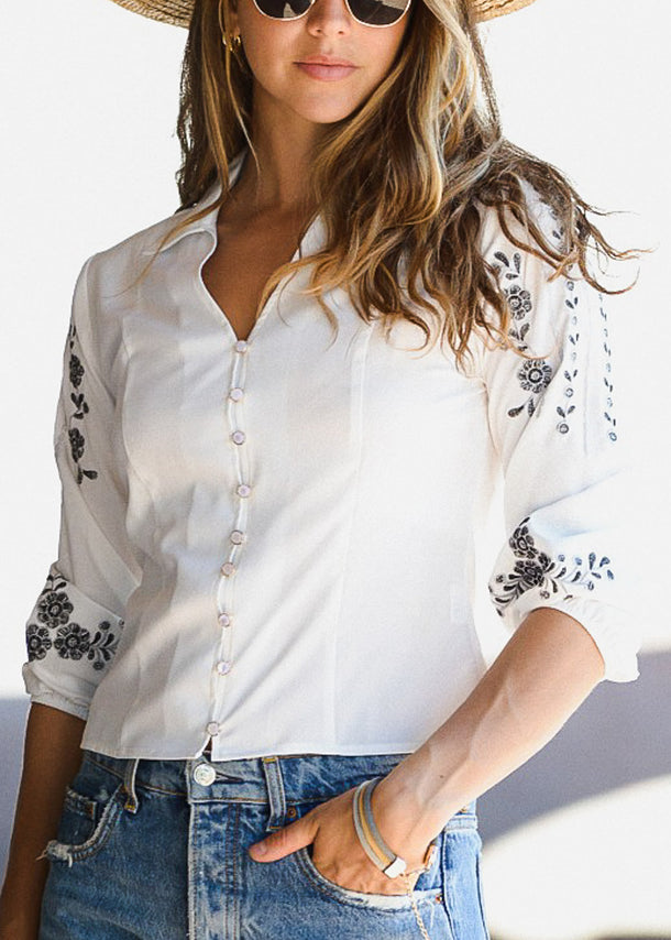 Button Down White Crochet Shirt