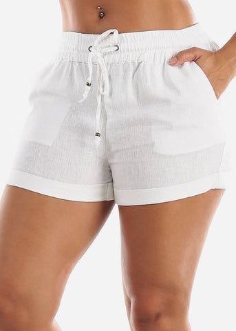 Image of Drawstring Waist White Shorts